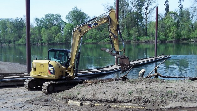 Heavy equipment clears the Bowman Park ramp on Wednesday.