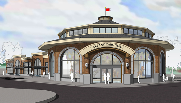 The planned new carousel building at First Avenue and Washington Street.