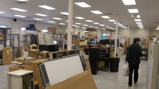 Inside the spacious former mail-handling facility, which has found new uses.