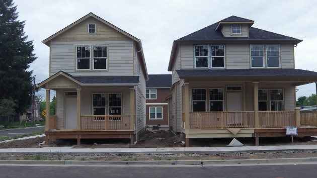 Houses number 6 and 7 are nearing completion at Edgewater Village.
