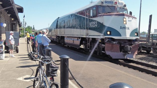 An Amtrak Cascades train from Portland arrives in Albany one Saturday in May.
