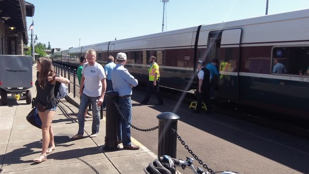 Passengers arrive in Albany aboard the Amtrak Cascades.