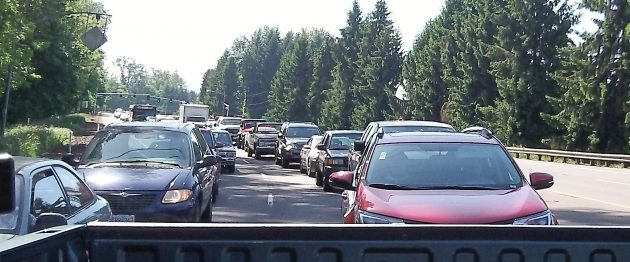 A variable VMT could be used to discourage congestion, as here on Highway 20 near Albany.