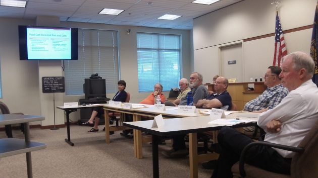 The Albany City Council and Manager Wes Hare, right, listen to presentation on potential food cart regulations Monday.