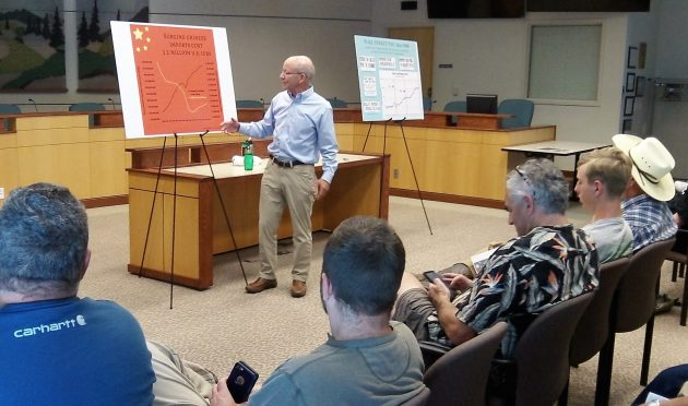 Rep. Peter DeFazio makes a point about China during his town hall meeting Monday in Albany.