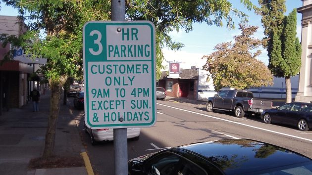 On Second Avenue downtown: You can park here, but not if you work here.