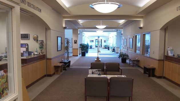The city council chamber is at the end of this long lobby in Albany's City Hall.
