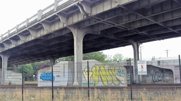 Big, colorful and ugly: Graffiti under the Pacific overpass on Sept. 1.