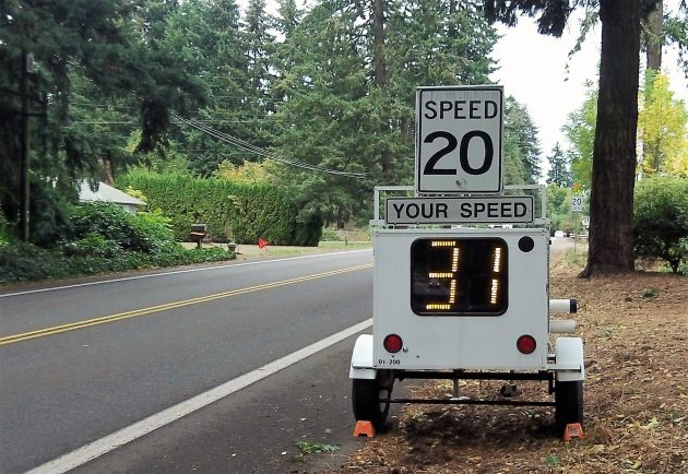The radar display that reinforced the 20-mph school zone this morning.