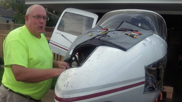 Jay was happy to talk with a passerby curious about his airplane project.