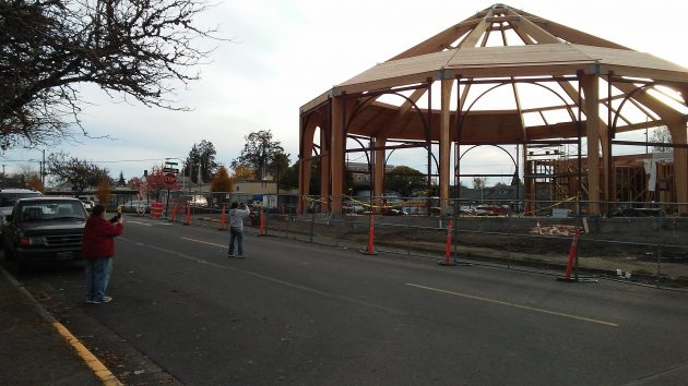 Snapping photos of the unfinished skeleton of the Albany Carousel on Thursday evening.