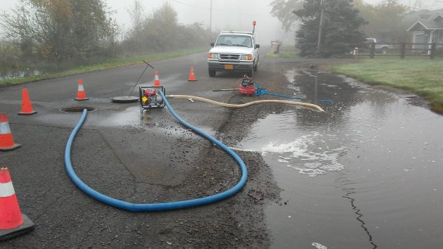 After going on all day Monday, the pumping continued in the fog on Tuesday morning.