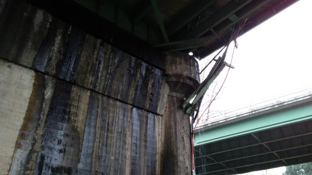 The view from underneath the north end of the Ellsworth Street bridge.