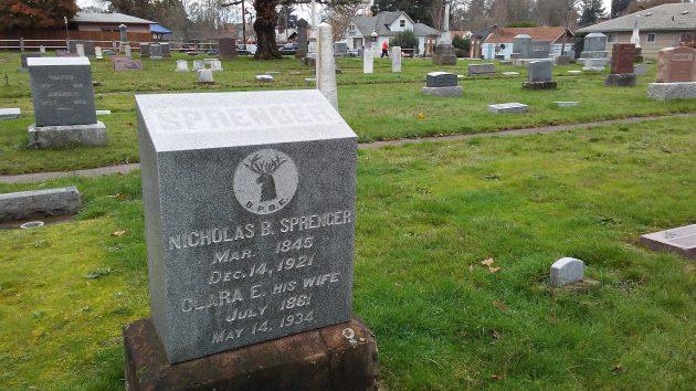 The Sprenger grave at Albany's historic Masonic Cemetery.