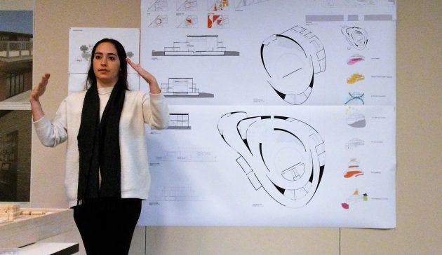 UO student Krin Ziv talks about her concept of a downtown Albany performing arts center Wednesday.