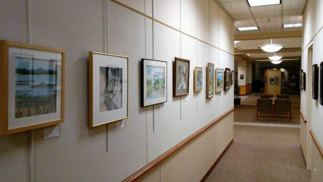 Paintings line the main public hallway at Albany City Hall. Why no people? It was late at night.