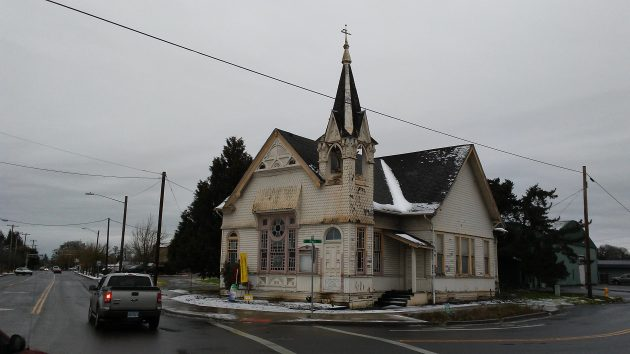 The former church at Santiam and Main as it looked on Dec. 19.