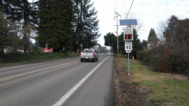 This radar sign on Spring Hill displays the speed of a vehicle behind the camera, not the one that has just passed.