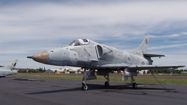 One of the A-4 Skyhawks the way it looked at the Albany Airport in June 2013.